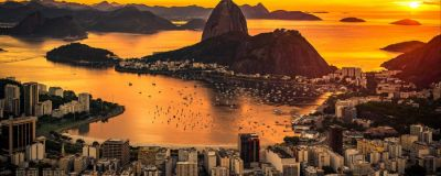 Beautiful Warm Sunrise in Rio de Janeiro, Brazil, With the Sugarloaf Mountain Silhouette