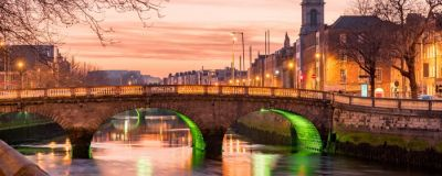 The O'Connell Bridge in Dublin, Ireland, in the early evening.
