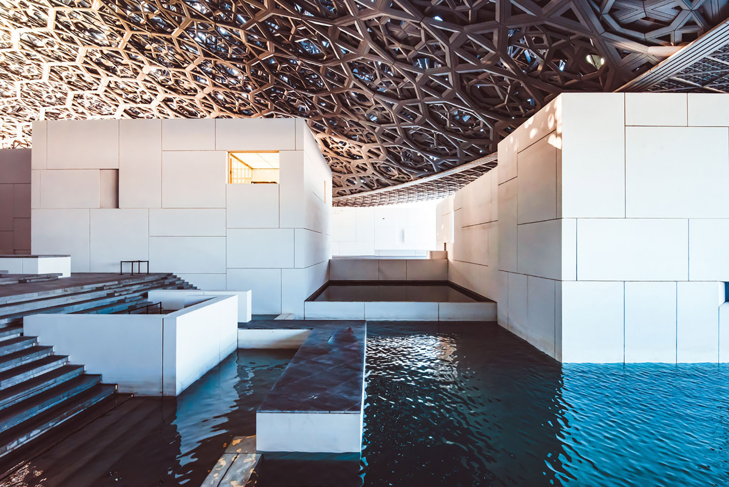 The pools in the interior of the Louvre Abu Dhabi