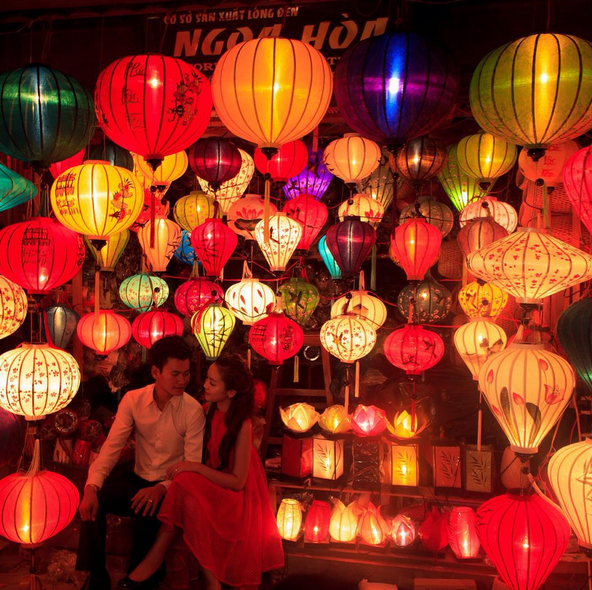 Hoi An, Vietnam lanterns at night.