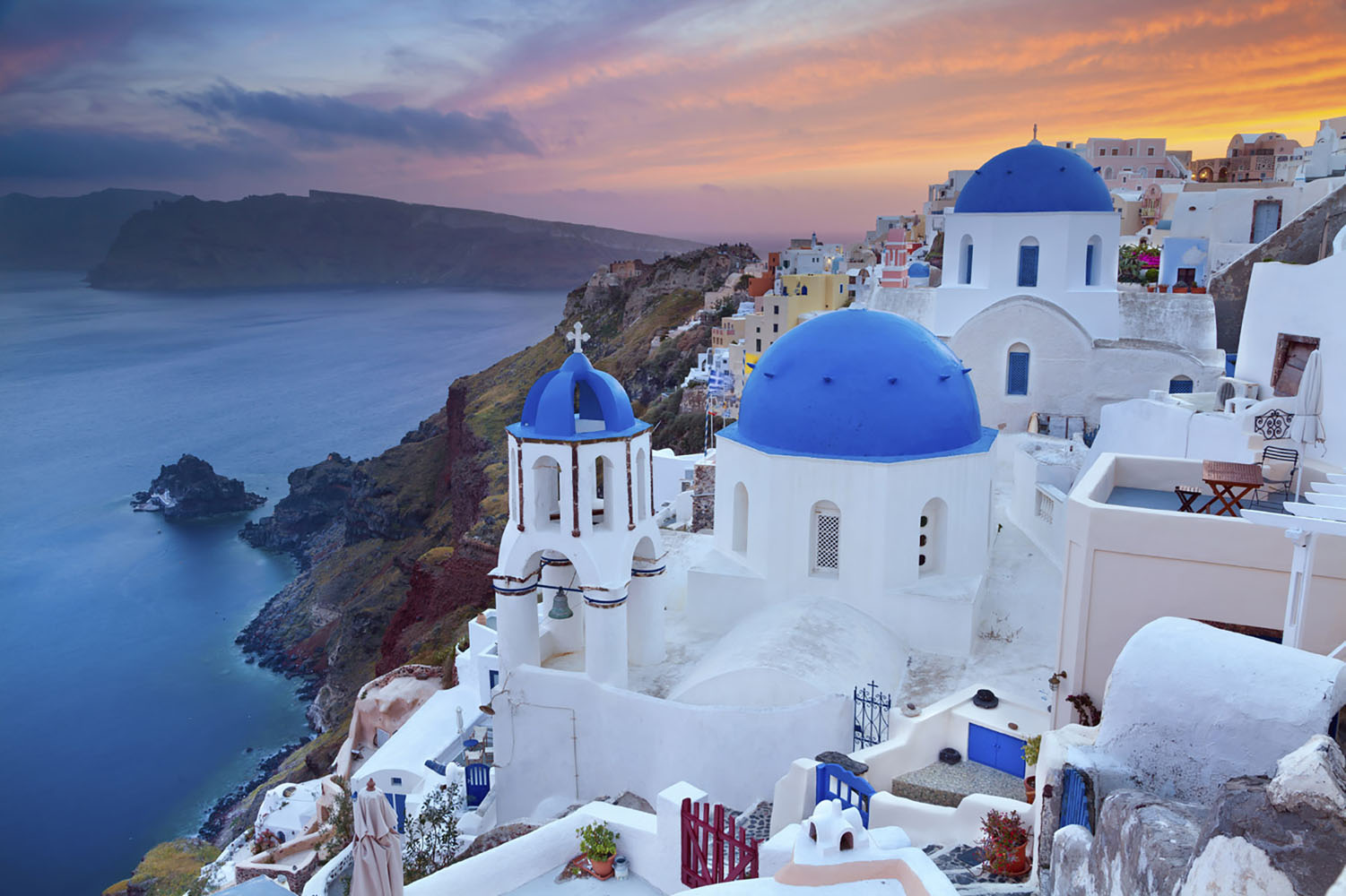 Sunset in Santorini, Greece.