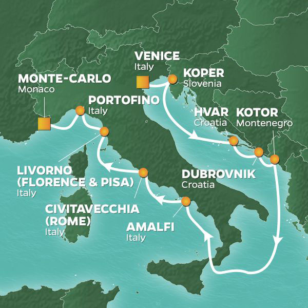 Adriatic and Mediterranean Treasures cruise itinerary map, from Venice to Monte-Carlo