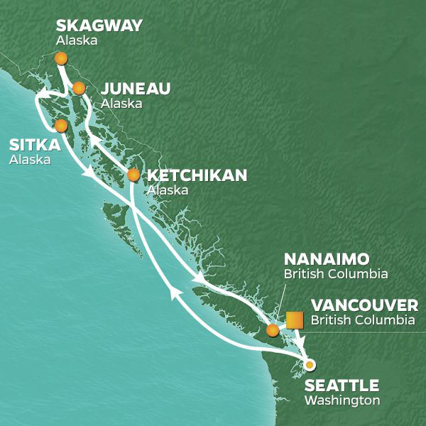 Alaska Showcase cruise itinerary map, with stops in British Columbia, Seattle, and throughout Alaska