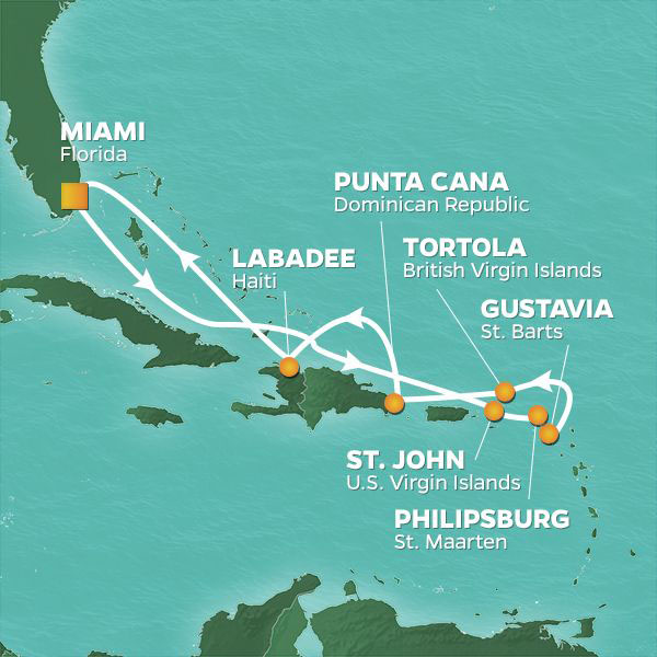 Caribbean Highlights cruise itinerary map, with stops in the Virgin Islands, St. Maarten, St. Bart's, Dominican Republic and Haiti