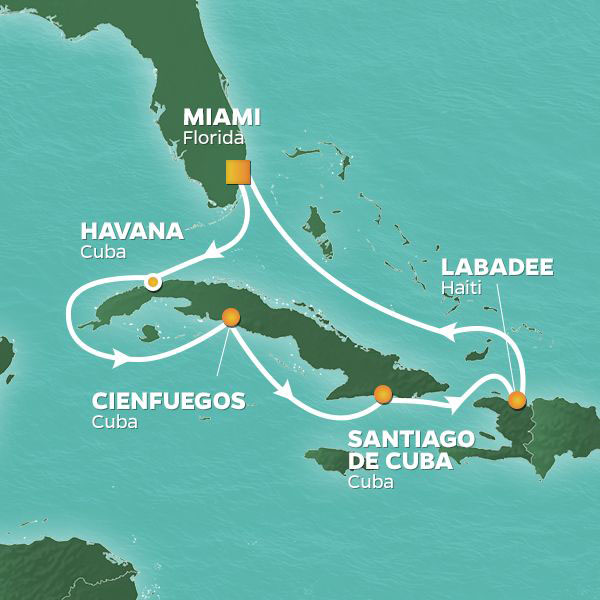 Cuba Intensive cruise itinerary map, with stops in Havana, Cienfuegos, Santiago de Cuba, and Haiti