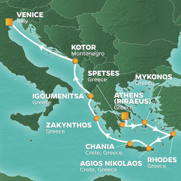 Greece Intensive cruise itinerary map, from Athens to Venice