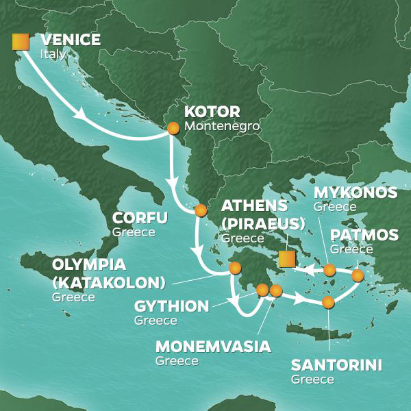 Greek Isles Intensive cruise itinerary map, from Venice to Athens