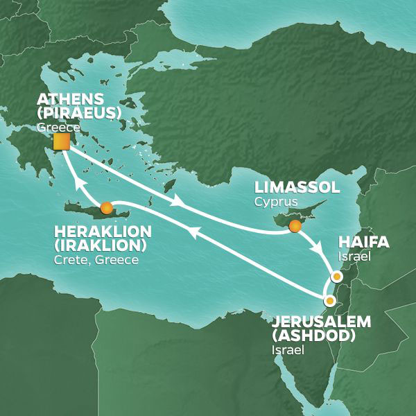 Israel Intensive cruise itinerary map, with stops in Cyprus, Israel and Greece