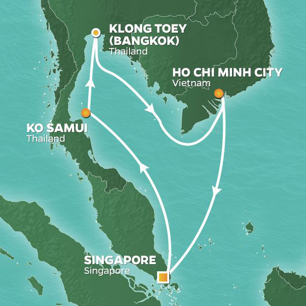 Thailand and Vietnam cruise itinerary map, from Singapore to Ho Chi Minh City