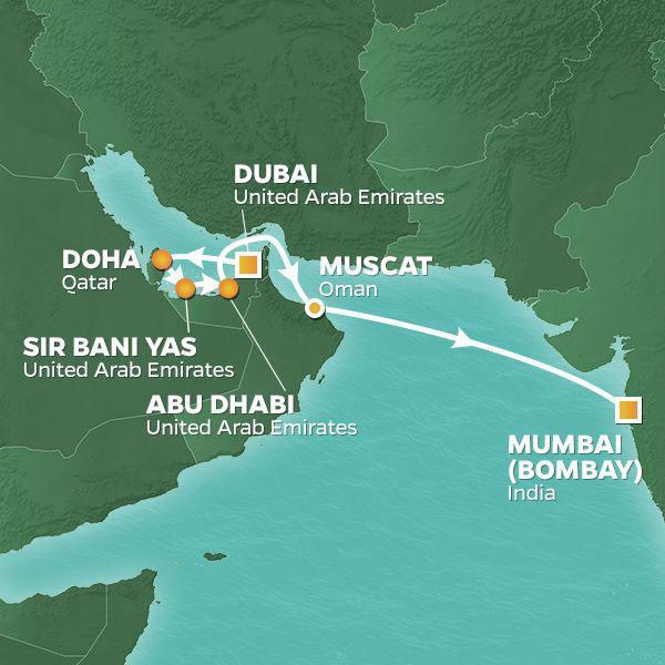 Arabia and India Holiday cruise itinerary map, from Dubai to Mumbai