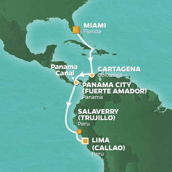 Colombia, Panama and Peru cruise itinerary map, from Miami to Lima