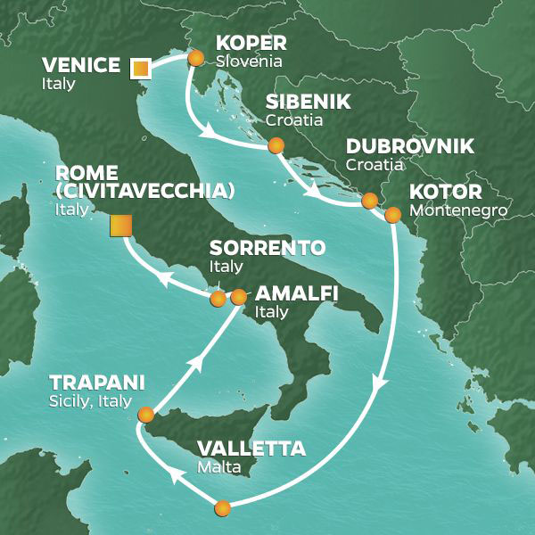 Mediterranean Pursuit cruise itinerary map, from Venice to Rome with stops in Croatia and Italy