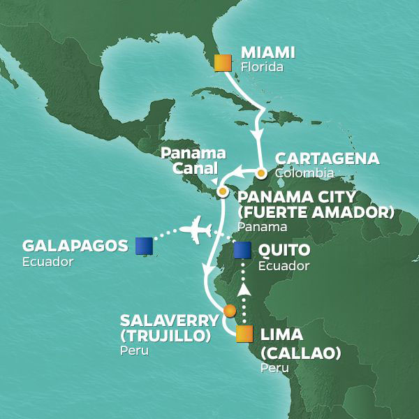 South America and Galapagos cruise itinerary map, from Miami to the Galapagos Islands
