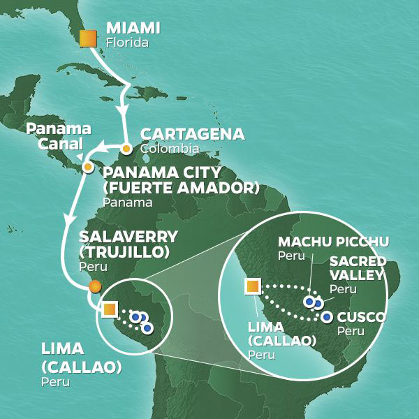 South America cruise itinerary map, Miami to Lima with an extended stay at Machu Picchu