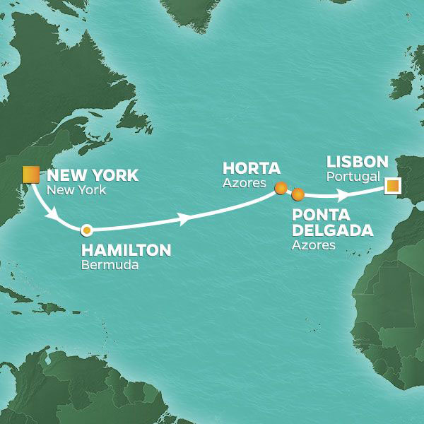 Bermuda and the Azores cruise itinerary map, from New York to Lisbon