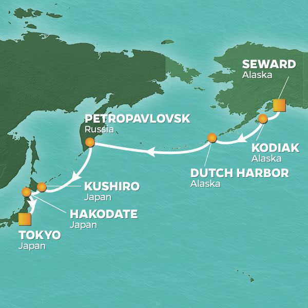 Alaska to Japan cruise itinerary map, from Seward to Tokyo
