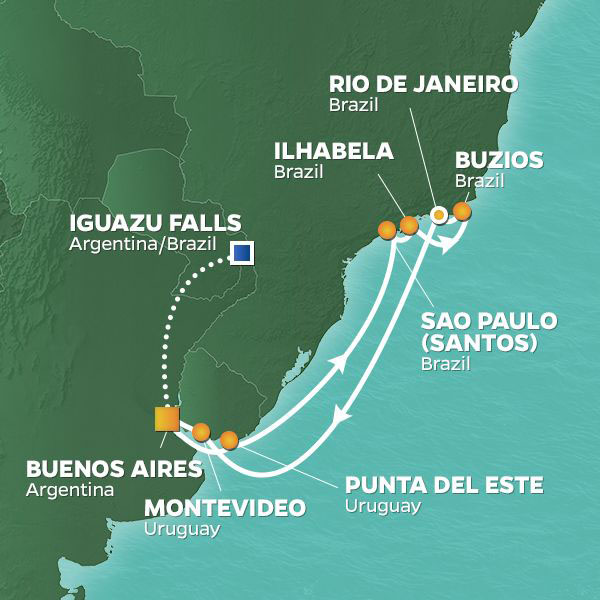 Carnaval in Rio cruise itinerary map, Buenos Aires to Rio with an extended stay in Iguazu Falls