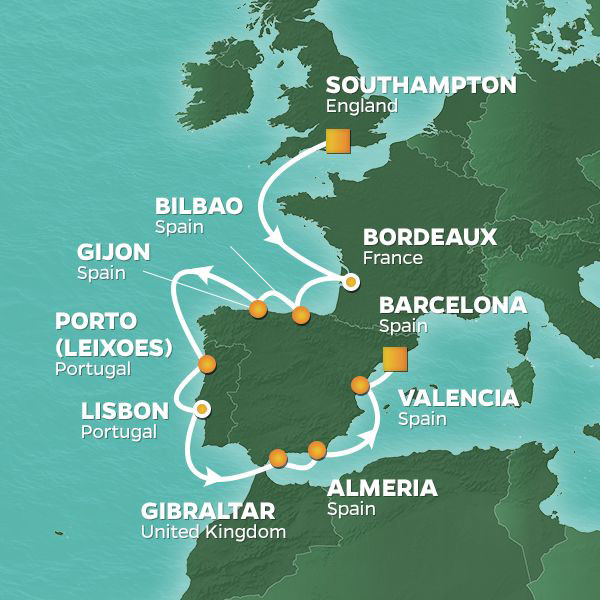 Wine and Romance cruise itinerary map, England to Barcelona with stops in France and Portugal