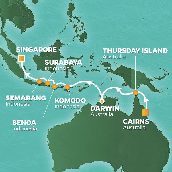 australia indonesia voyage map