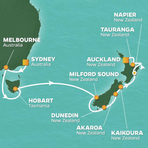 australia and new zealand cruise itinerary map melbourne to auckland