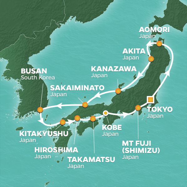Circle Japan Intensive cruise itinerary map, with stops throughout Japan and South Korea