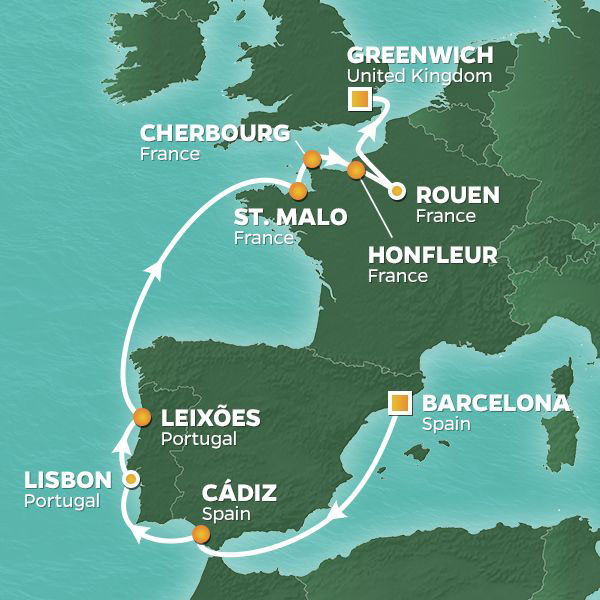 Tall Sails and Remembrance cruise itinerary map, from Spain to the United Kingdom