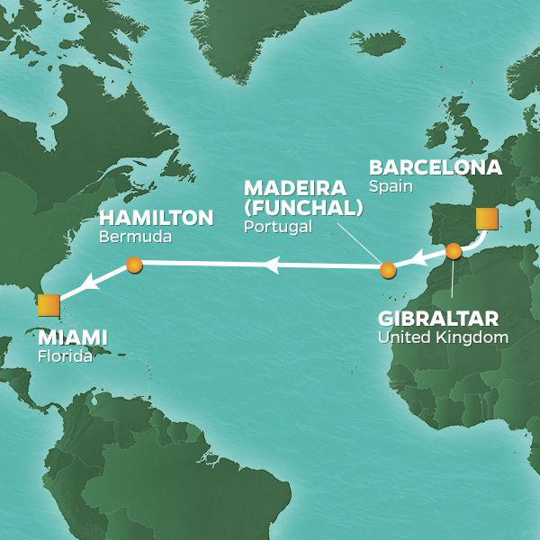 Western Pursuit cruise itinerary map, from Barcelona to Miami