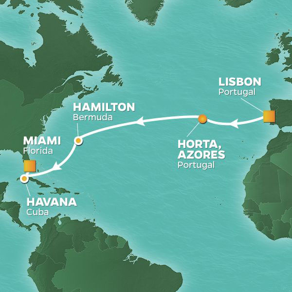 Westward Journey cruise itinerary map, from Lisbon to Miami