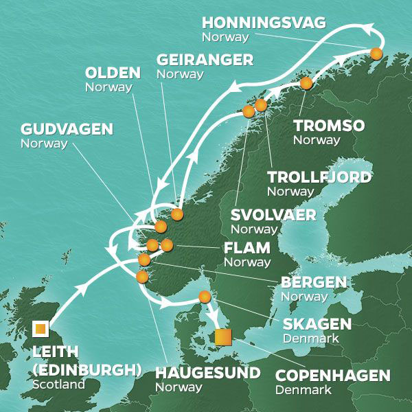 Journey to the North Cape cruise itinerary map, from Scotland to Denmark with stops throughout Norway