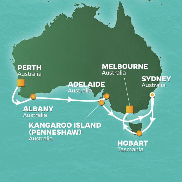 New Year's Eve in Sydney cruise itinerary map, from Perth to Sydney, Australia