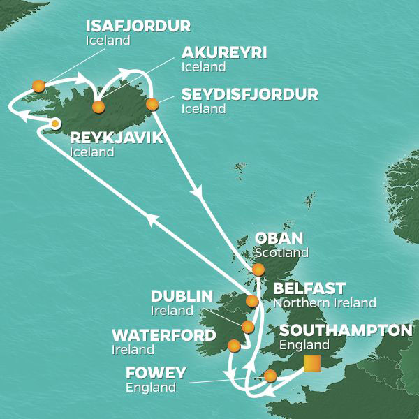 Wonders of Iceland cruise itinerary map, with stops in Ireland and Scotland