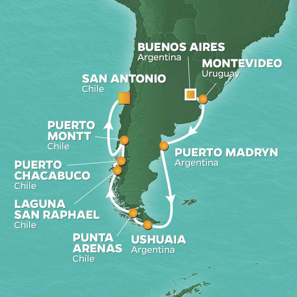 Chilean Fjords cruise itinerary map, Buenos Aires to San Antonio