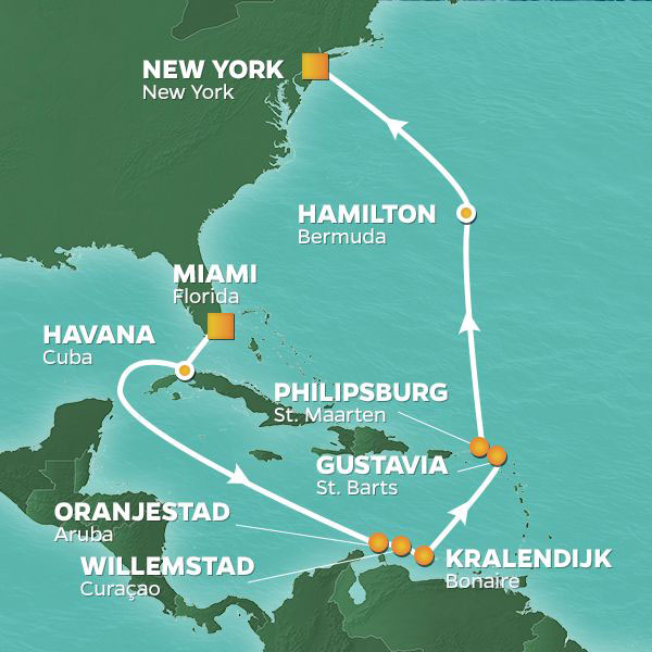 Miami to New York cruise itinerary map, with stops throughout the Caribbean