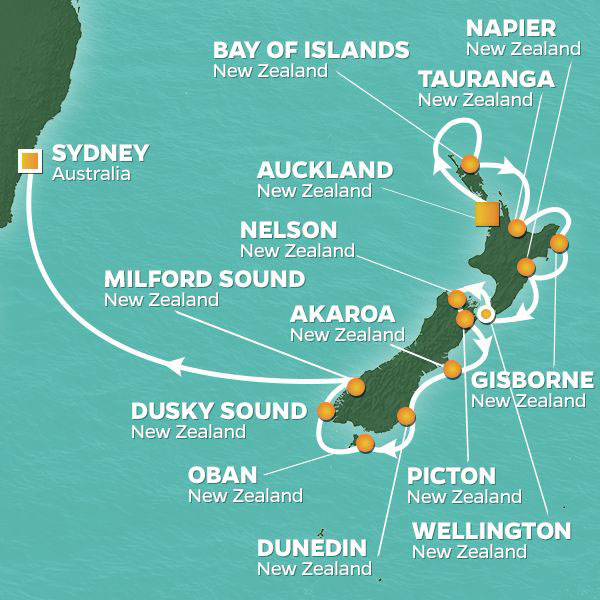 New Zealand Intensive cruise itinerary map, with various stops throughout New Zealand