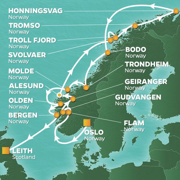 Norway and Midnight Sun cruise itinerary map, stopping at various locations along the Norwegian Coast