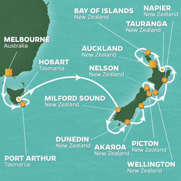 Tasmania and New Zealand cruise itinerary map, from Melbourne to Auckland
