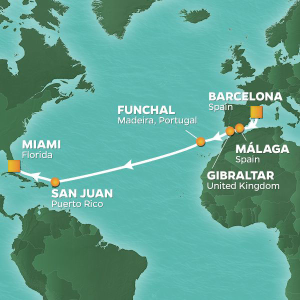 Westward Journey cruise itinerary map, Barcelona to Miami