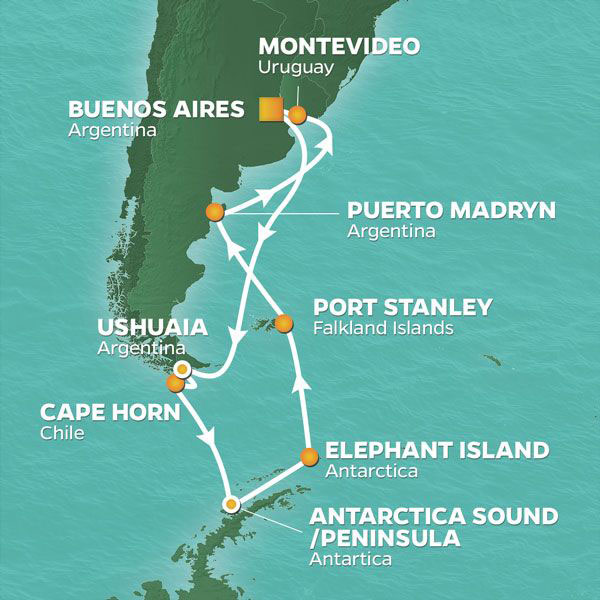 Antarctica Pursuit cruise itinerary map, Argentina to Antarctica with stops in Chile and Falkland Islands