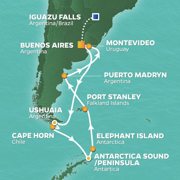 Antarctica cruise itinerary map, Argentina to Antarctica with extended stay in Iguazu Falls