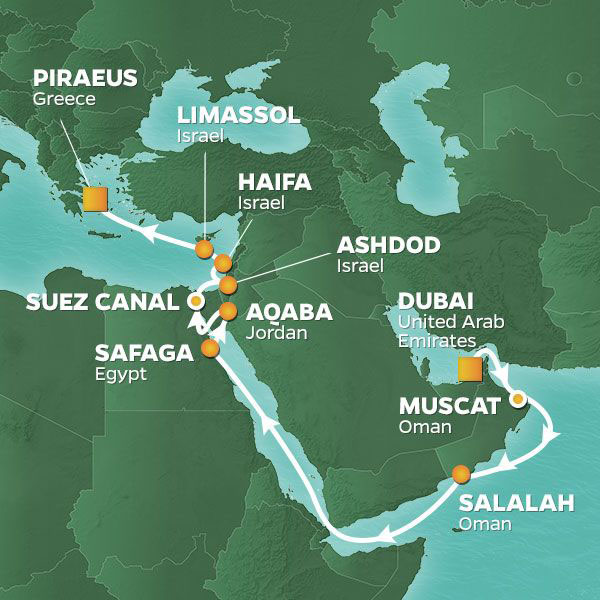 Oman, Luxor, and Israel Voyage cruise itinerary map