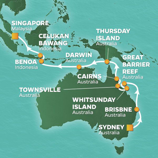 Australia to Asia cruise itinerary map