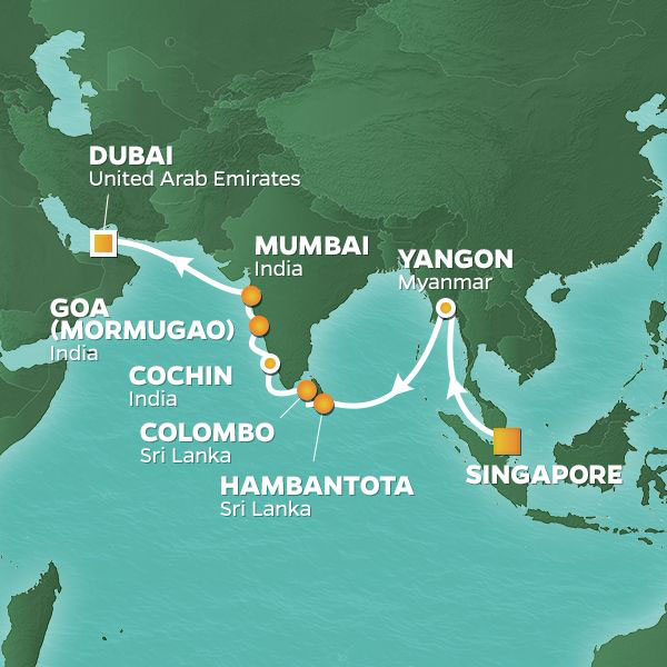 Indian Ocean Adventure Voyage cruise itinerary map from Singapore to Dubai