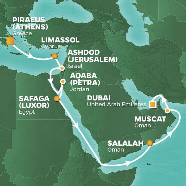 Voyage of Discovery cruise itinerary map, from Athens to Dubai