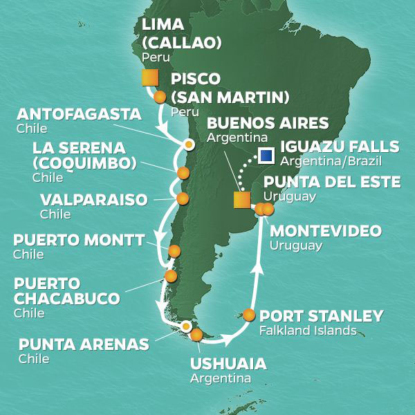 South America cruise itinerary map, from Lima to Uruguay with an extended stay in Iguazu Falls