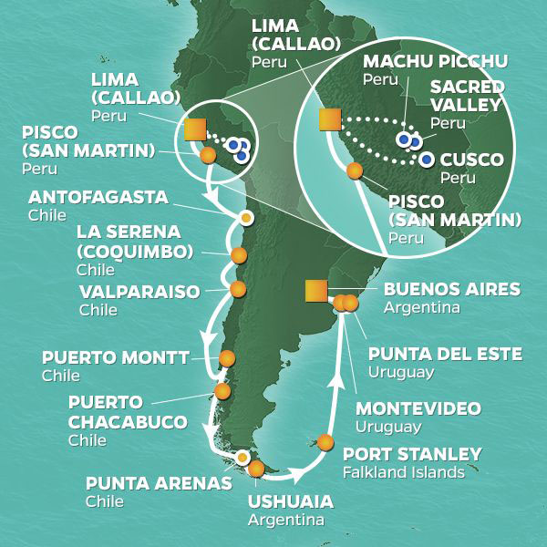 South America cruise itinerary map, from Lima to Buenos Aires with an extended stay at Machu Picchu
