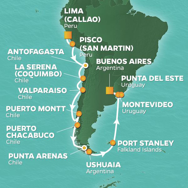 South America Pursuit cruise itinerary map, from Lima to Uruguay
