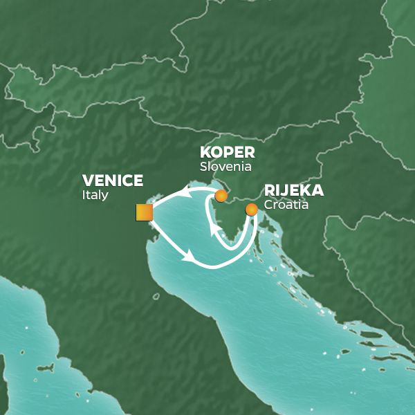 Mediterranean Weekend Pursuit cruise itinerary map, from Italy to Croatia and Slovenia
