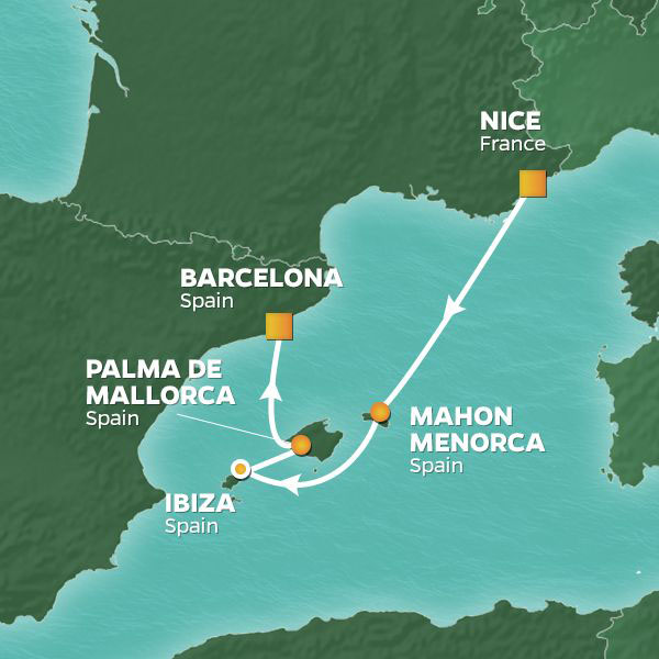 Balearic Islands Voyage cruise itinerary map, from Nice to Barcelona