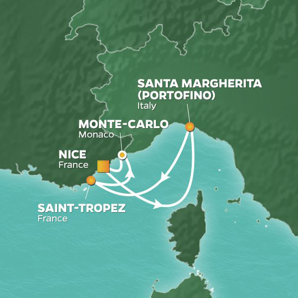 Grand-Prix Weekend Voyage cruise itinerary map to France, Italy, and Monaco