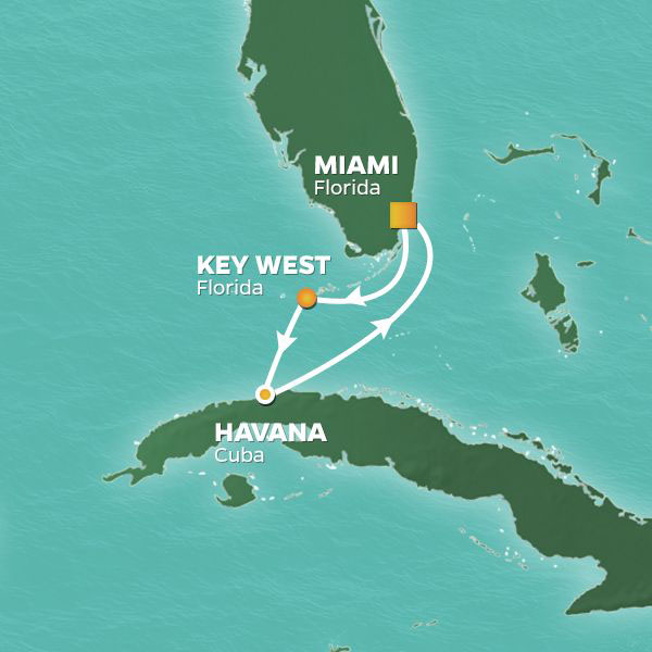 Havana Getaway cruise itinerary map, Miami to Havana with a stop in Key West